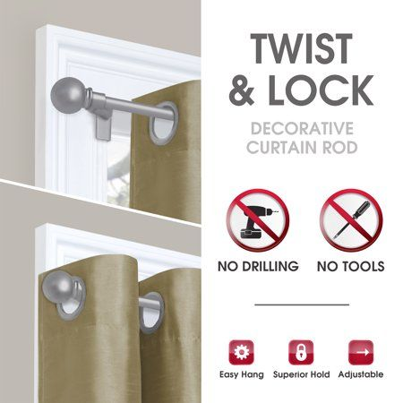 Smart Rods Twist And Lock No Drill Adjustable Tension Rod 28 48 Walmart Com Curtain Rods Diy Curtain Rods Decorative Curtain Rods