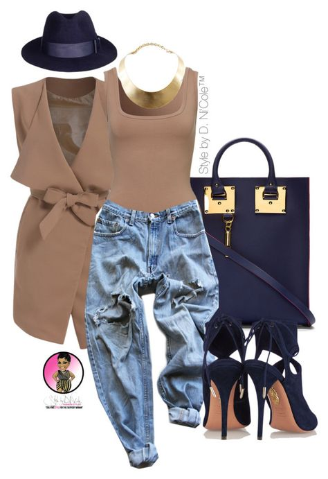 """""""Untitled #2793"""" by stylebydnicole ❤ liked on Polyvore featuring Sophie Hulme, Levi's, Aquazzura and GUESS"""
