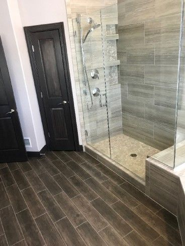 Bathroom Floor Daltile Willow Bend Smoky Brown Shower Walls Shaw Rockwood Quarry Floors River Pebbles Chenielle White