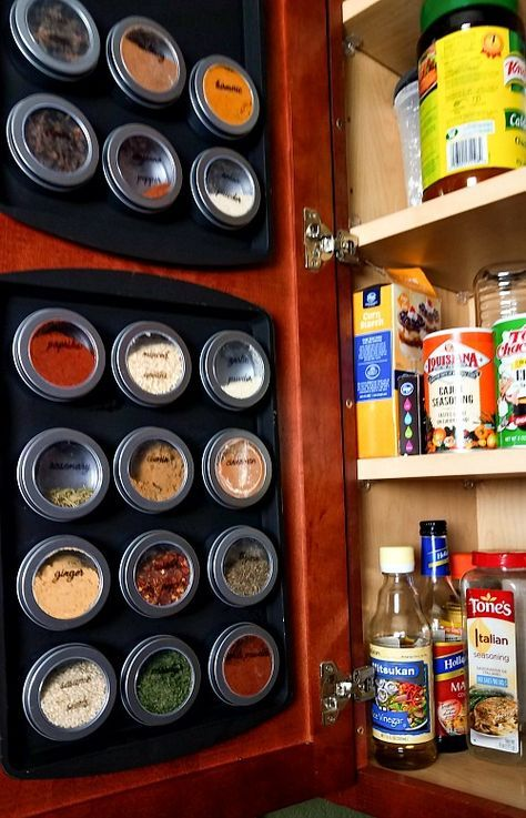 Diy Magnetic Dollar Store Spice Rack With Free Printable Spice Jar Labels Dollar Store Organizing Kitchen Spice Organization Diy Magnetic Spice Rack Diy