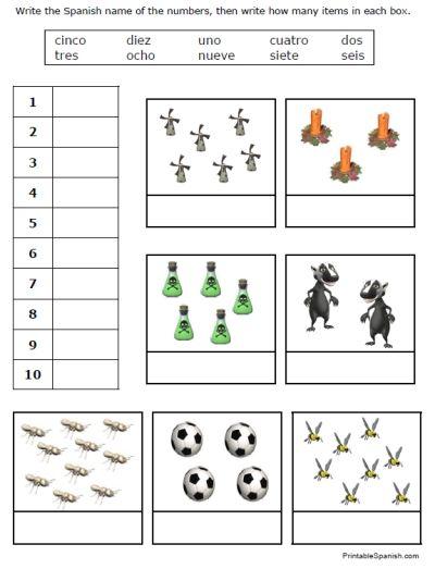 Kindergarten Spanish Number Worksheet Printable | Teaching Spanish ...