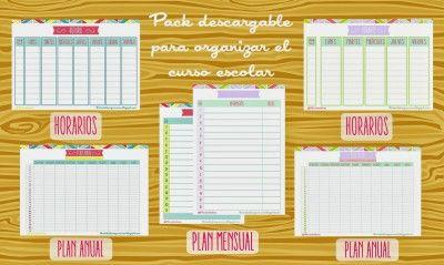 Pack para organizar el curso escolar. Horarios, plan anual, plan mensual. Ideal para los peques y los no tan peques.