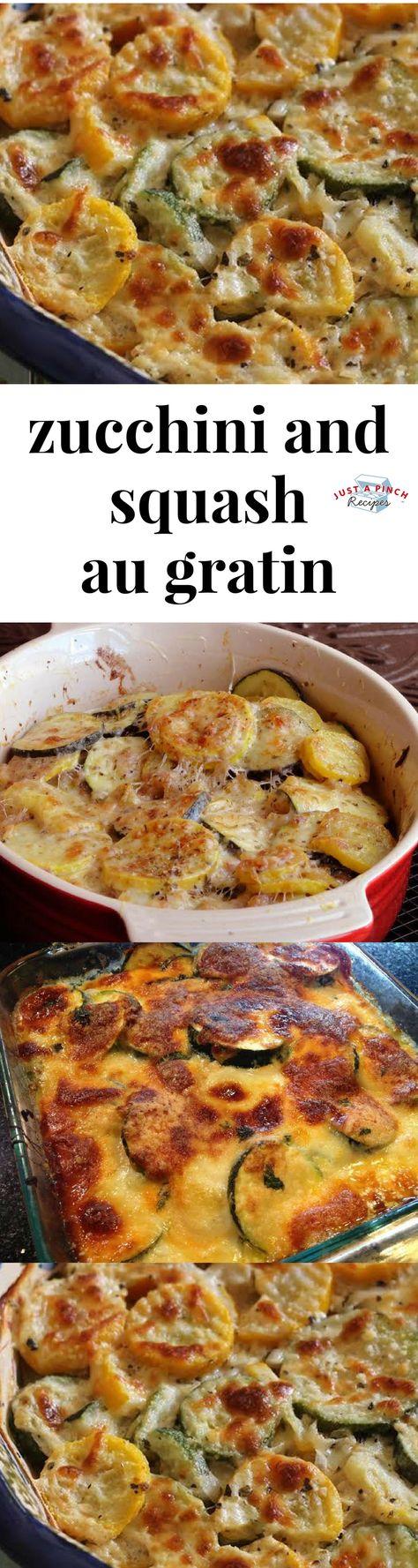 Zucchini and squash au gratin recipe is an easy summer side dish! #summerrecipe #summerdinner #sidedish #summersidedish #zucchini #squash