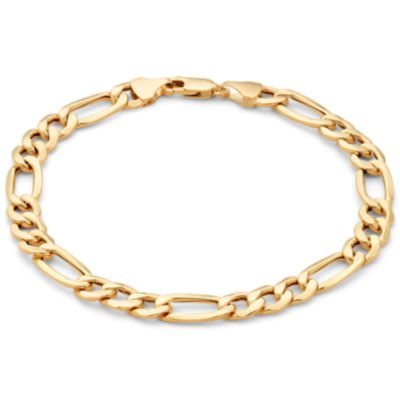 Made In Italy Mens 10k Gold 6 7mm 8 5 Hollow Figaro Bracelet Mayisgoldmonth Gold Italiangold Goldchain Mensjewelr Mens Gold Jewelry Mens Jewelry 10k Gold