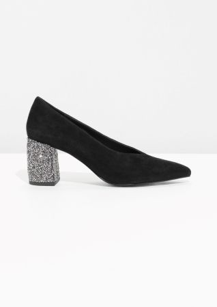 7a8f8c367703 & Other Stories | Rhinestone Suede Pump | Fashion | Suede pumps, Shoes, Glitter  pumps