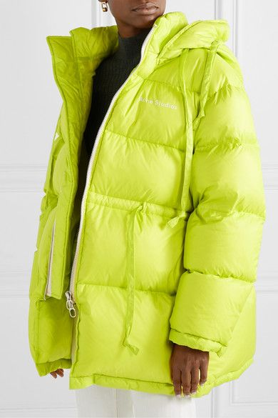 Chartreuse Oversized Hooded Quilted Neon Shell Down Jacket Acne Studios Down Jacket Jackets Acne Studios Jacket