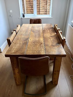 Chunky Solid Wood Beam Dining Table 2 Thick Top Rustic Made Any Size Wood Dining Table Rustic Rustic Solid Wood Dining Table Dining Table Rustic