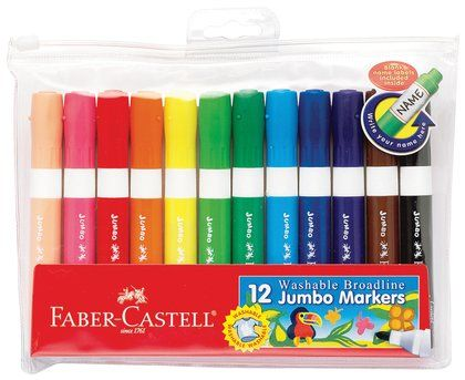 Markers for kids Triangular Markers for Kids and Toddlers Jumbo Felt Tip Ergonomic Grip Non-Toxic 12 Coloring Markers Pink Elephant