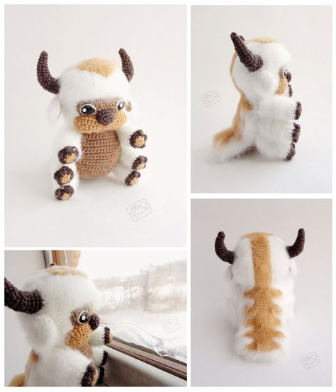 """Appa, the flying bison from """"Avatar: Tha Last Airbender"""". Cute Crafts, Yarn Crafts, Diy And Crafts, Arts And Crafts, Avatar The Last Airbender Art, Avatar Aang, Cute Crochet, Crochet Toys, Crochet Projects"""