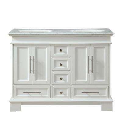 48 In W X 22 In D Vanity In White Oak With Marble Vanity Top In