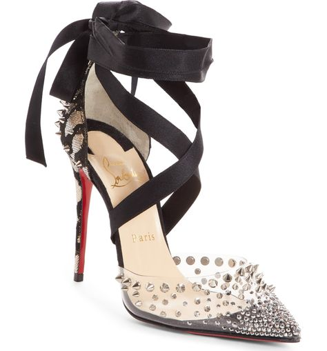 a2542897492 Christian Louboutin Miragirl Ankle-Wrap Red Sole Pumps, Black