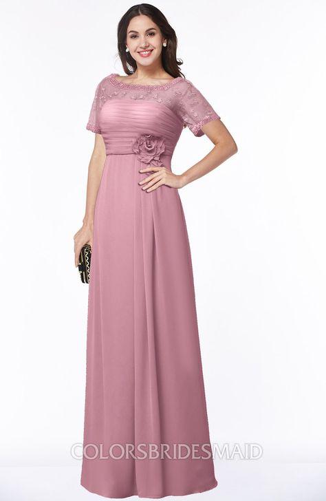 203cde139db2 ColsBM Amanda Traditional Short Sleeve Zip up Chiffon Floor Length Flower Bridesmaid  Dresses #colsbm #bridesmaids #bridesmaiddress #weddings