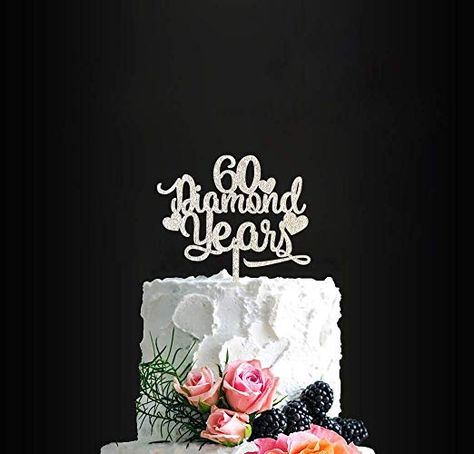 Surprising 60 Diamond Years Birthday Cake Topper 60Th Anniversary Cake Topper Funny Birthday Cards Online Bapapcheapnameinfo