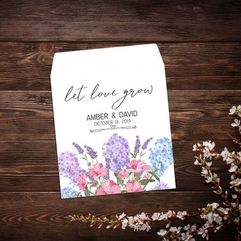 Seed Favors, Garden Wedding, Purple Flowers, #seedfavor #seedpackets #custom #weddingfavor #personalizedfavor #seedpacketfavor #letlovegrowfavor #seedweddingfavor #bridalshowerfavor #seedenvelopes #customseedpackets #purpleflowers #gardenwedding