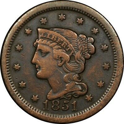 1851 1c Braided Hair Large Cent Vf Detail Rare Old Type Coin Coins Us Coins Statue