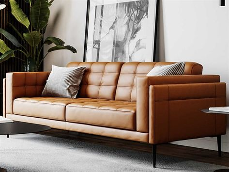 Modern Couch, Living Room Modern, Living Room Sofa, Living Room Furniture, Leather Living Rooms, Genuine Leather Sofa, Modern Leather Sofa, Sofa And Loveseat Set, Lounge Couch