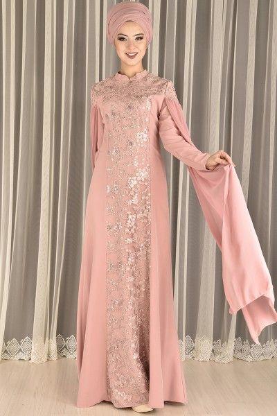 Modamerve Dantelli Pul Payet Abiye Elbise Gul Kurusu Ebg 24048 Elbise The Dress Moda Stilleri
