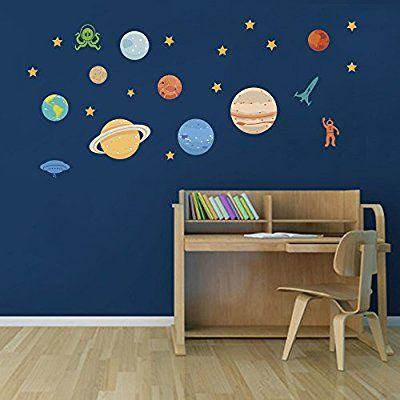 decalmile Space Planets Rockets Kids Wall Decals Solar System Stars Wall Stickers Baby Nursery Boys Bedroom Playroom Wall Decor
