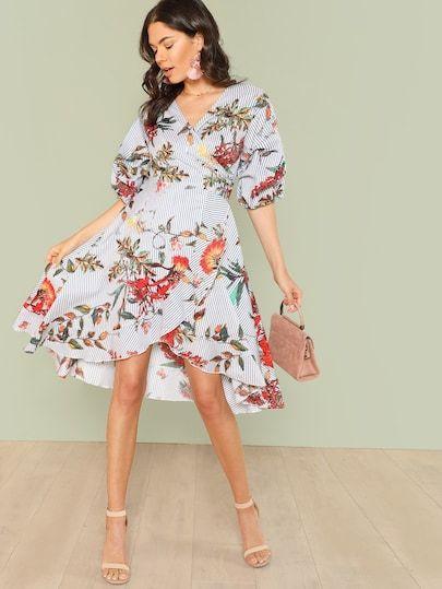 Blommig klänning med bardot krage | SHEIN SE