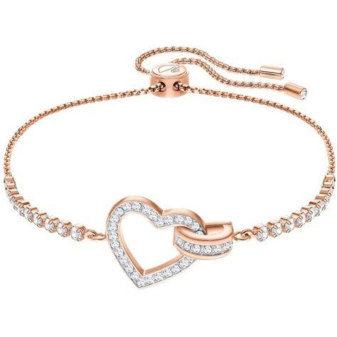 Swarovski Lovely Crystal Heart Bracelet (460 MYR) ❤ liked on Polyvore featuring jewelry, bracelets, rose gold, sparkle jewelry, sparkling jewellery, pave crystal jewelry, heart jewelry and pave bangle