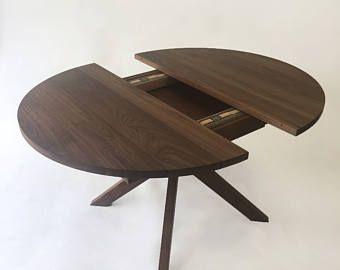 Round Dining Table With Extension Solid Walnut Round Dining
