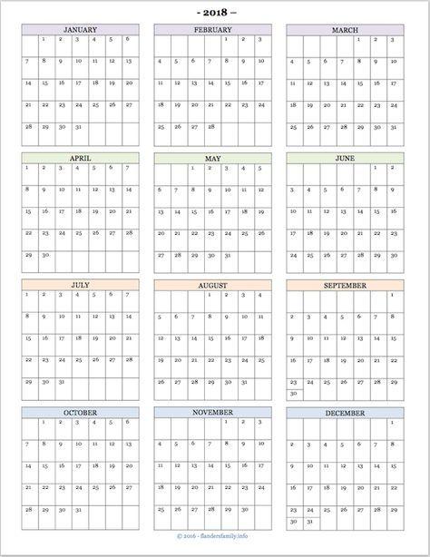 Free Printable 2018 Year At A Glance Calendar Calendar Printables At A Glance Calendar Printable Yearly Calendar