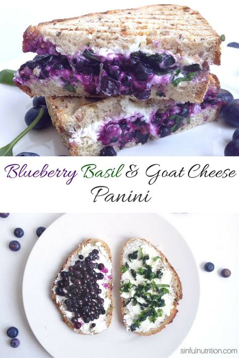 Creamy goat cheese, wild blueberries, and fresh basil combine into this irresistibly easy Blueberry Basil & Goat Cheese Panini Sandwich. Creamy goat cheese, wild blueberries, and fresh basil combine into this irresist. I Love Food, Good Food, Yummy Food, Tasty, Goat Cheese Recipes, Grilled Cheese Recipes, Food Porn, Panini Sandwiches, Paninis