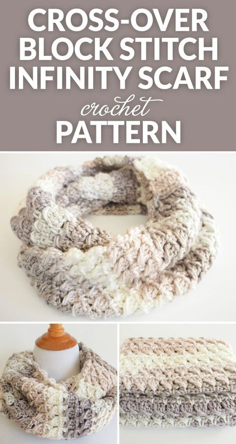 This Cross-Over Stitch Infinity Scarf is the perfect thing to keep you warm this winter. It also makes a perfect gift for a special someone this Christmas. häkeln Cross-Over Stitch Infinity Scarf Crochet Pattern - Dabbles & Babbles Knit Or Crochet, Crochet Gifts, Crochet Scarves, Crochet Shawl, Easy Crochet, Crochet Clothes, Crochet Stitches, Crotchet, Diy Clothes