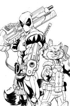 Deadpool Rocket Inks By Coltnoble Marvel Coloring Star Wars Drawings Comic Art Fans