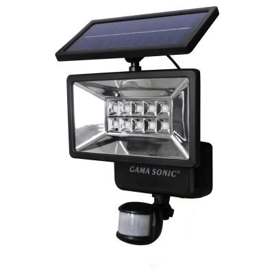 Gama Sonic 160 Black Outdoor Solar Powered Security Light With Motion Sensor Gs 10 The Home Depot Solar Powered Security Light Security Lights Motion Sensor Lights Outdoor