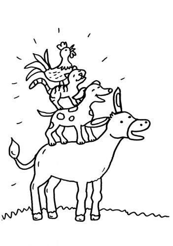 Fairy Tale Bremen Town Musicians To Color For Coloring Bremen Color Coloring Fairy Musicians Coloring Pages Free Coloring Kindergarden Books