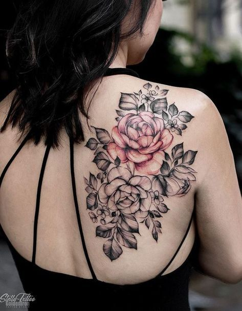 Awesome Flowers Tattoo Inkstylemag Floral Tattoo Shoulder Floral Back Tattoos Rose Tattoos
