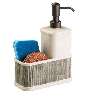Plastic Kitchen Counter Soap Pump With Sponge Caddy Decorative Woven Accents Sponge Caddy Soap Pump Soap Pump Dispenser