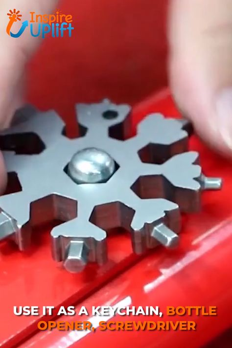 Imagine what you could do with a tool that can perform 18 different tasks! The Snowflake Keychain Multi-Tool is an incredible gadget! There's more to the simple snowflake-shaped design than meets the eye. Use your imagination and explore its many, special uses. The Snowflake Keychain Multi-Tool can be used to open a beer bottle, turn a screw, fix a bicycle or even an appliance and it's always there when you need it.