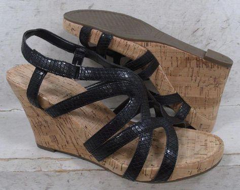 348681ffffb Aerosoles Womens Lux Plush Black Sandals Wedge Platform Heels Shoes size  8.5 M  fashion  clothing  shoes  accessories  womensshoes  sandals (ebay  link)   ...