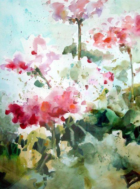 watercolor geraniums - Michele Cooper