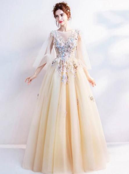 9acfc78c782f In Stock:Ship in 48 hours Sexy A-Line Yellow Tulle Appliques Wedding ...