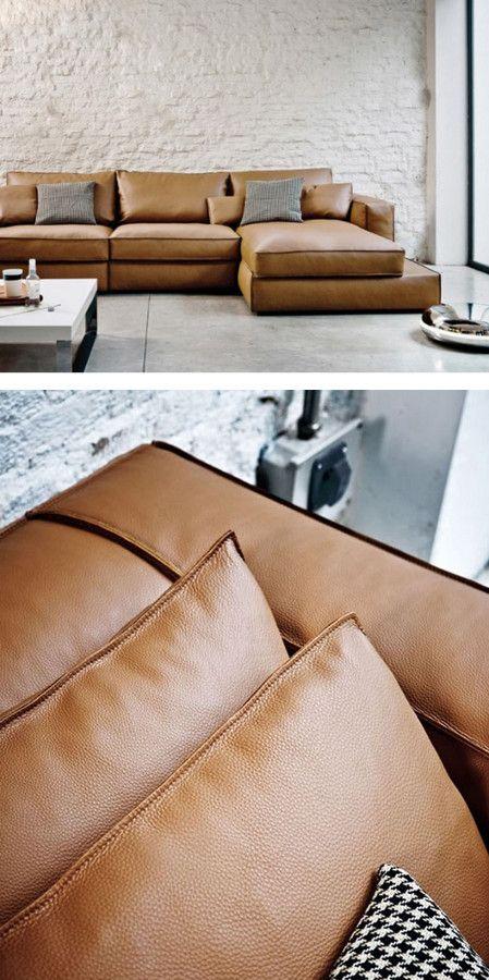 Sectional #leather #sofa CARESSE by ESTEL GROUP | #design Alessandro Dalla Pozza