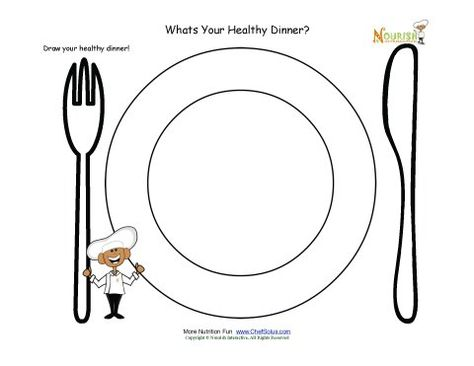 Drawing activity for children. This activity is a great tool for helping children learn about the importance of dinner and what foods make a healthy dinner.