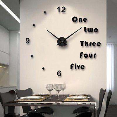 Modern Analog Diy Large Number Wall Clock 3d Mirror Surface