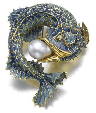 Art Nouveau Fish Brooch, Gold, Enamel and Pearl