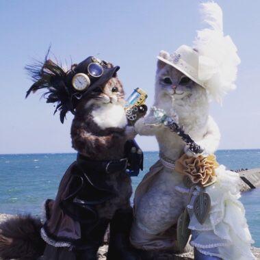 羊毛フェルト 魔法使い 猫人形