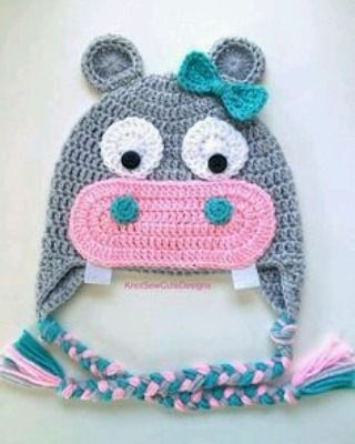 Hippo Hat 3 Sizes Free Crochet Pattern From One And Two Company