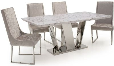 Vida Living Olena Marble Dining Set 160cm With 4 Champagne Chairs Dining Table Marble Dining Table