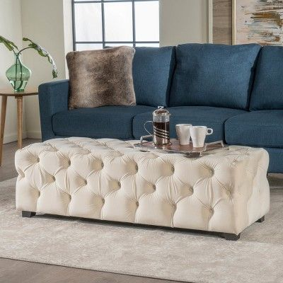 Awe Inspiring Piper Tufted Velvet Fabric Rectangle Ottoman Bench Ivory Squirreltailoven Fun Painted Chair Ideas Images Squirreltailovenorg