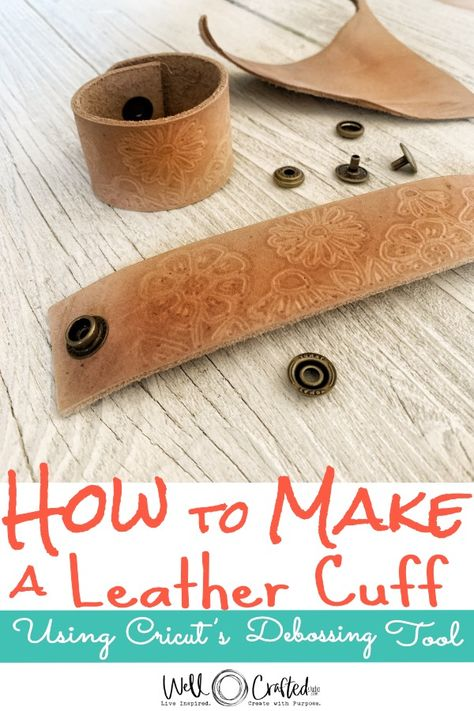 Use your Cricut Maker to craft this DIY leather cuff that makes a great gift! Add any design you want to with the Cricut Debossing Tip- it makes it easy to personalize custom leather cuffs! Great beginner tutorial for how to deboss with your Cricut. How To Emboss Leather, How To Make Leather, Leather Embossing, Bracelet En Cuir Diy, Diy Leather Bracelet, Leather Jewelry Making, Leather Earrings, Diy Leather Projects, Leather Diy Crafts