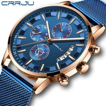 Relojes Crrju Para Hombre De Cuarzo A Prueba De Agua Lujo Deportivo Azul Casual En 2020 Relojes De Cuero Para Hombres Relojes Deportivos Hombre Reloj De Pulsera Hombre