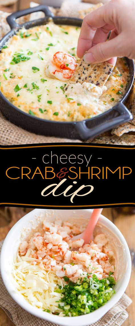 Indulge in a good way with this Cheesy Crab & Shrimp Dip! If you are a lover of everything cheese and seafood, you'll want to bathe in this! Indulge in a good way with this Cheesy Crab & Shrimp Dip! If you are a lover of Appetizers For A Crowd, Seafood Appetizers, Appetizer Dips, Best Appetizers, Seafood Recipes, Appetizer Recipes, Seafood Fondue Recipe, Shrimp And Crab Dip, Seafood Dip