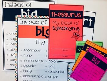 Thesaurus Synonyms Booklets And Posters Teacher Help Booklet Middle School Lessons