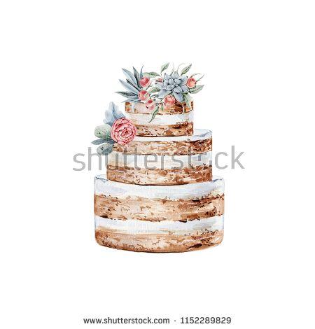 Watercolor Wedding Cake Illustration In 2019 Wedding Cake